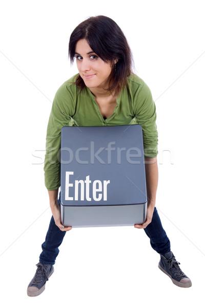 Belépés kulcs fiatal gyönyörű nő lány test Stock fotó © zittto