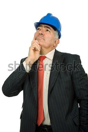 Woede ingenieur Blauw hoed geïsoleerd witte Stockfoto © zittto
