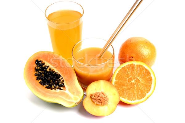 Meyve suyu cam portakal suyu kesmek portakal meyve Stok fotoğraf © zittto