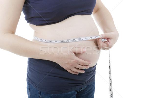 Zwangere zwangere vrouw witte lichaam home Stockfoto © zittto