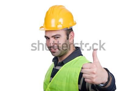Stockfoto: Duim · omhoog · werknemer · gebouw