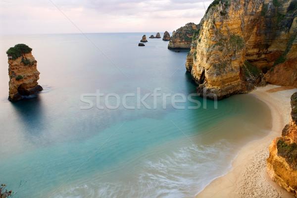 Okyanus uzun pozlama plaj su gün batımı doğa Stok fotoğraf © zittto
