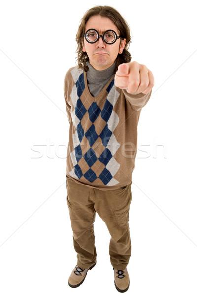 Geek nauczyciel głupi wskazując odizolowany Zdjęcia stock © zittto