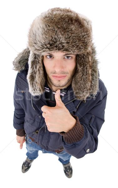Pulgar hasta jóvenes casual hombre Foto stock © zittto