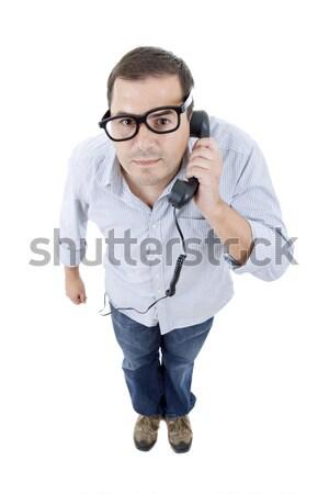 Férfi egészalakos fiatal lezser fehér divat Stock fotó © zittto