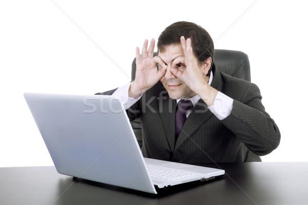Dom zakenman werken computer man gelukkig Stockfoto © zittto
