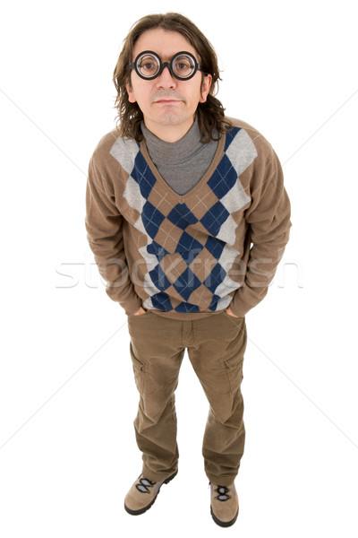 Geek insegnante stupido isolato mano Foto d'archivio © zittto