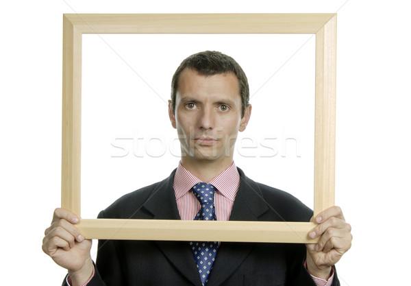 çerçeve genç iş adamı portre içinde iş Stok fotoğraf © zittto
