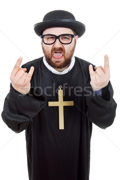 クレイジー 小さな 男 司祭 孤立した 白 ストックフォト © zittto