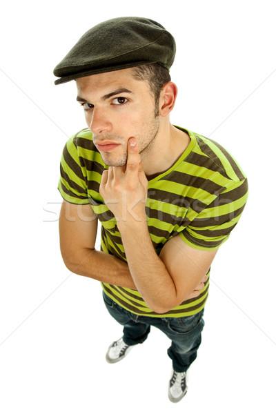 Bakıyor genç gündelik adam beyaz Stok fotoğraf © zittto