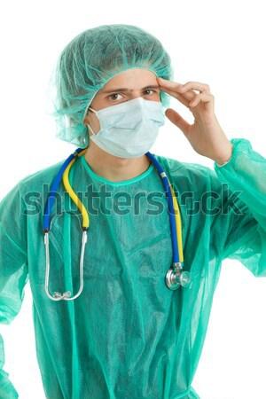 врач молодые мужской доктор изолированный белый улыбка Сток-фото © zittto