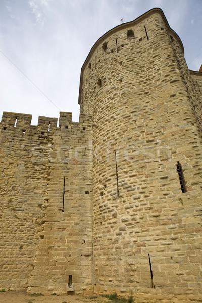 Oude vestingwerk zuidelijk Frankrijk gebouw veiligheid Stockfoto © zittto