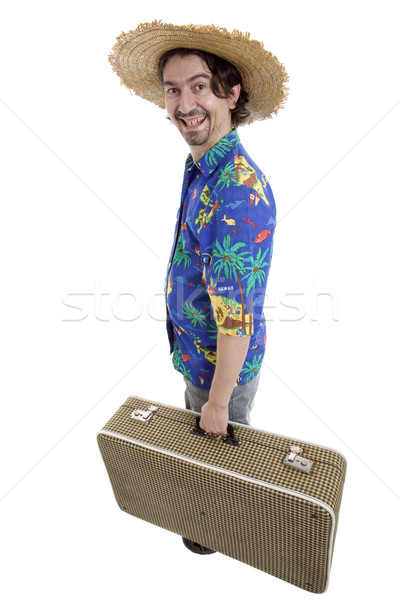 Gezgin genç aptal adam yalıtılmış Stok fotoğraf © zittto