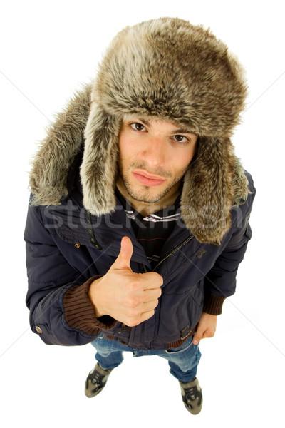 Duim omhoog jonge toevallig man portret Stockfoto © zittto
