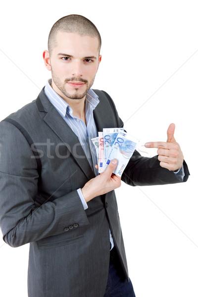 Geld jonge toevallig man financieren euro Stockfoto © zittto
