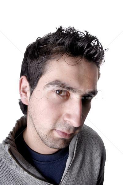 Man jonge toevallig portret witte gezicht Stockfoto © zittto