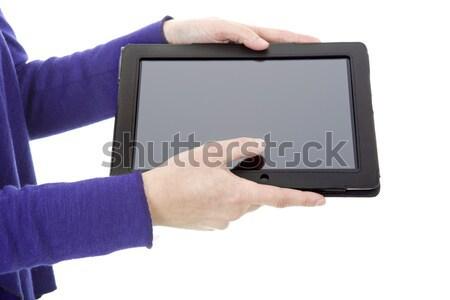 Zakenvrouw touch shot geïsoleerd Stockfoto © zittto