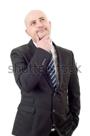 Pensamentos maduro homem de negócios retrato branco negócio Foto stock © zittto
