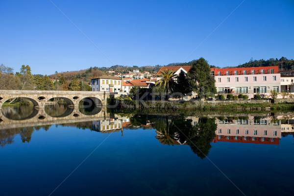 Eski köprü köy gökyüzü şehir manzara Stok fotoğraf © zittto