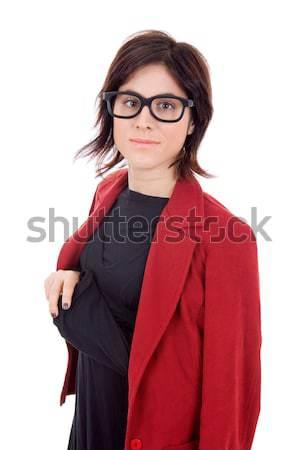деловой женщины молодые портрет изолированный белый счастливым Сток-фото © zittto