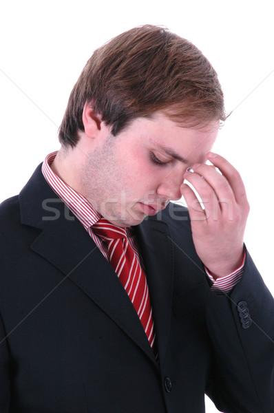 Stok fotoğraf: Baş · ağrısı · endişeli · iş · adamı · portre · beyaz · iş