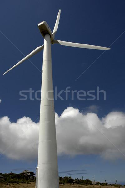 Türbin modern beyaz rüzgar türbini rüzgâr değirmen Stok fotoğraf © zittto