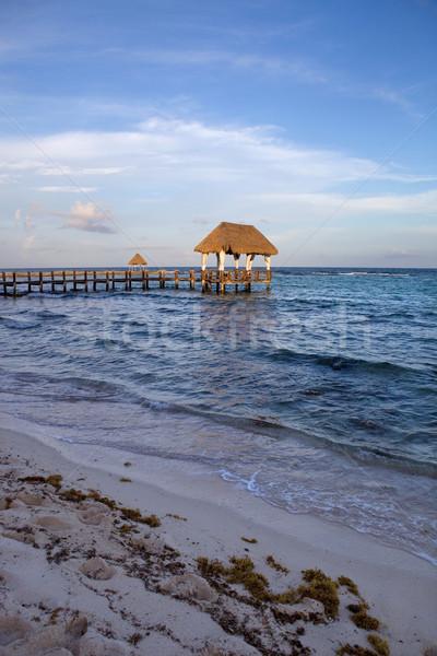 Dok Karaibów morza półwysep Meksyk Zdjęcia stock © zittto
