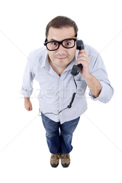 Dom man jonge man telefoon geïsoleerd witte Stockfoto © zittto