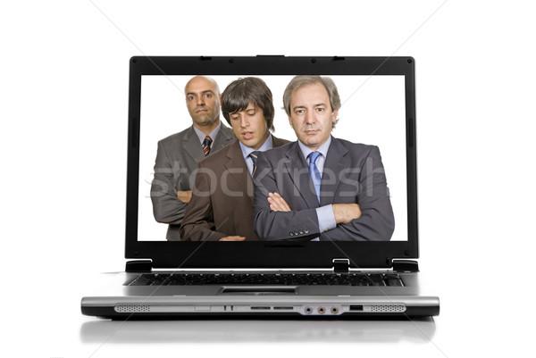 Laptop personal computer geïsoleerd witte business metaal Stockfoto © zittto