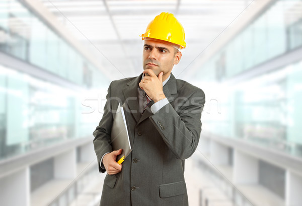 Сток-фото: инженер · мышления · желтый · Hat · служба · строительство
