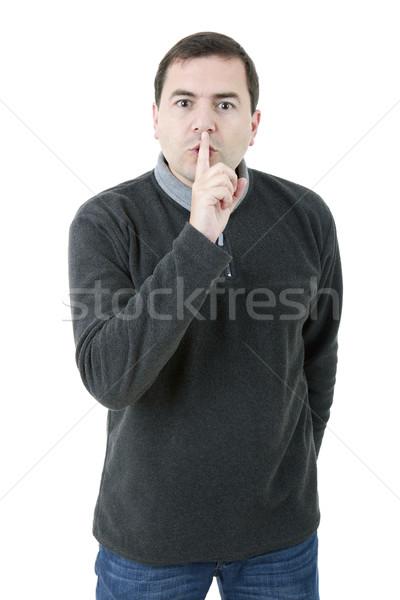 молчание молодые случайный человека пальца Сток-фото © zittto