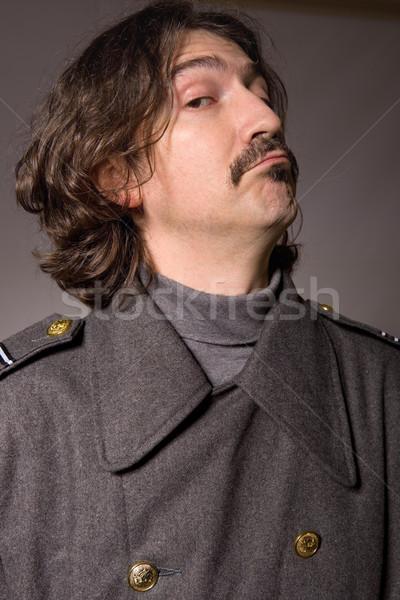 Rus askeri genç stüdyo resim kırmızı Stok fotoğraf © zittto