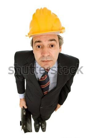 Stok fotoğraf: Mühendis · sarı · şapka · bavul · yalıtılmış · beyaz