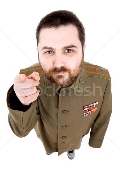 Foto stock: Militar · moço · russo · estúdio · retrato · preto