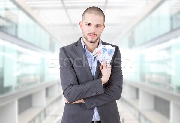 Geld man jonge toevallig kantoor financieren Stockfoto © zittto