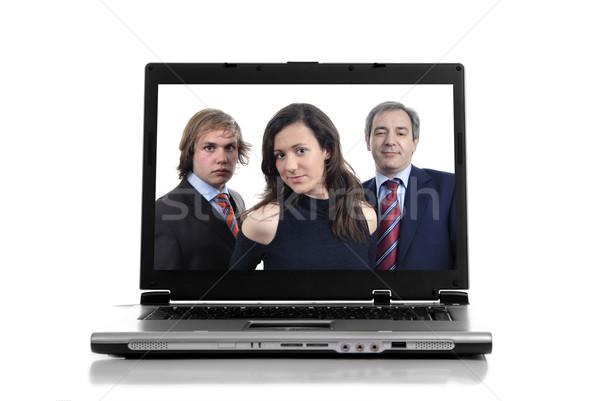 Laptop personal computer geïsoleerd witte vrouw internet Stockfoto © zittto