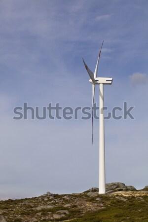 タービン 白 風力タービン 先頭 山 日没 ストックフォト © zittto