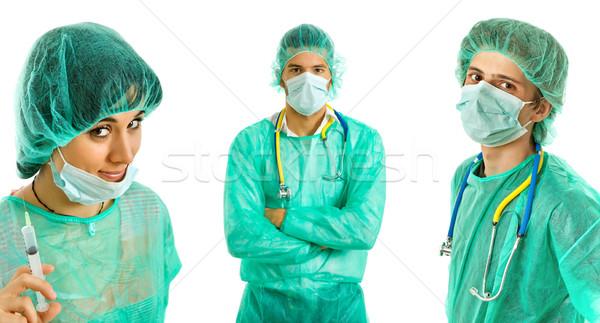 Artsen drie jonge geïsoleerd witte medische Stockfoto © zittto