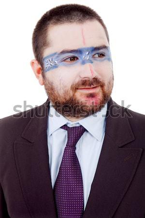 Garip genç aptal adam boyalı yüz Stok fotoğraf © zittto