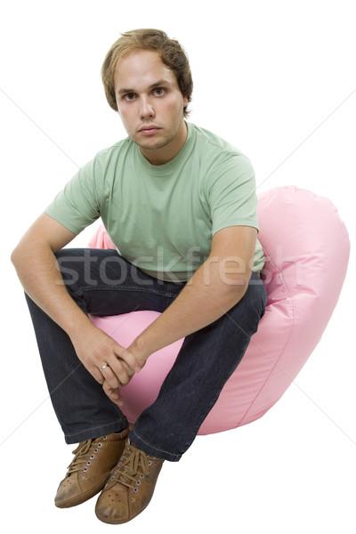 Adam genç gündelik küçük kanepe Stok fotoğraf © zittto