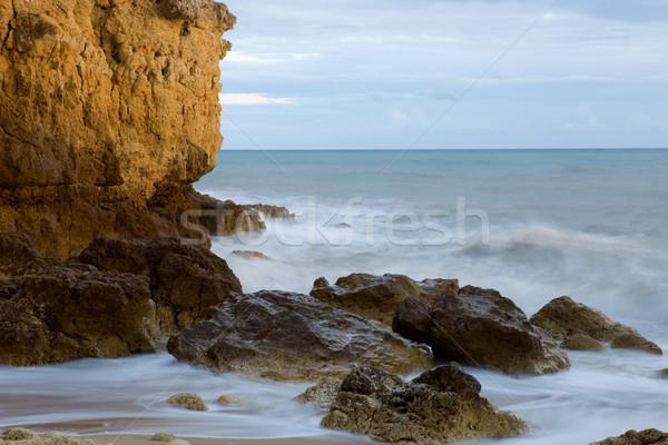 Longa exposição oceano praia água pôr do sol natureza Foto stock © zittto