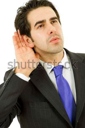 Fejfájás üzletember öltöny gesztusok üzlet kéz Stock fotó © zittto