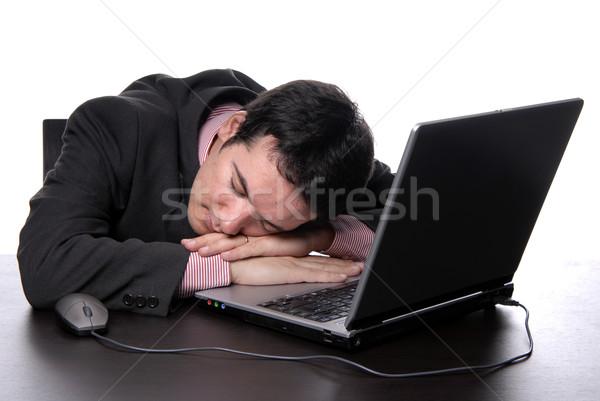 Slapen jonge zakenman laptop hand internet Stockfoto © zittto