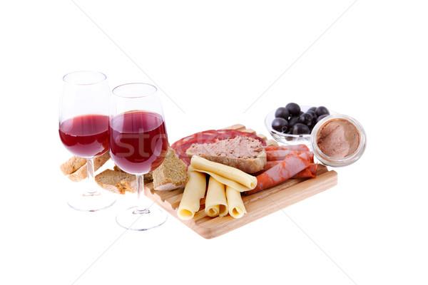 Establecer alimentos vino aislado blanco cocina Foto stock © zittto