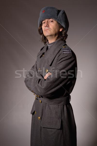 Orosz katonaság fiatalember stúdió kép portré Stock fotó © zittto
