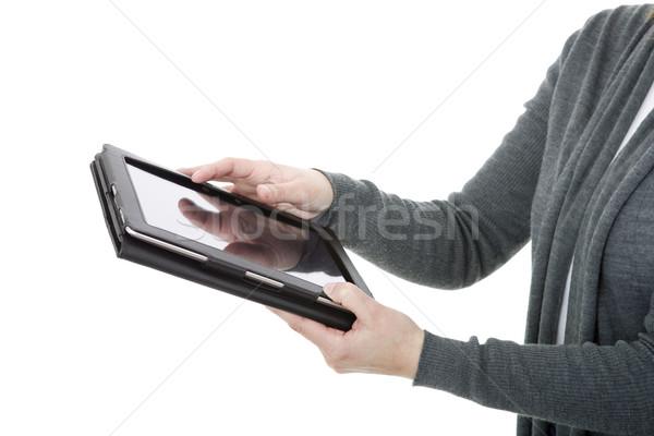 Digitale tablet vrouw geïsoleerd detail Stockfoto © zittto