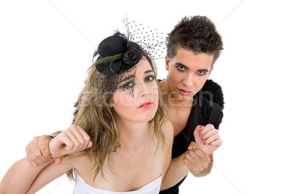 Genç çift oynama aile kız güzellik Stok fotoğraf © zittto