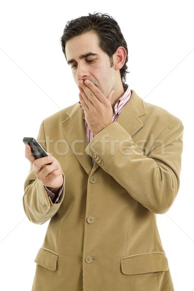 Wzywając młodych przypadkowy człowiek telefonu odizolowany Zdjęcia stock © zittto