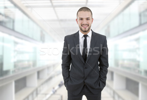 Iş adamı mutlu genç işadamı ofis yüz Stok fotoğraf © zittto