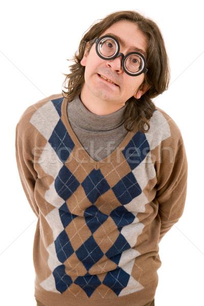 Geek очки учитель изолированный белый моде Сток-фото © zittto